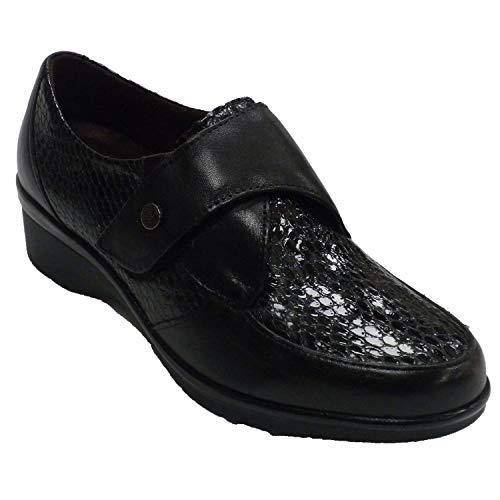 Zapatos Mujer Descanso Piel y Charol Serpiente Pitillos en Negro Talla 36