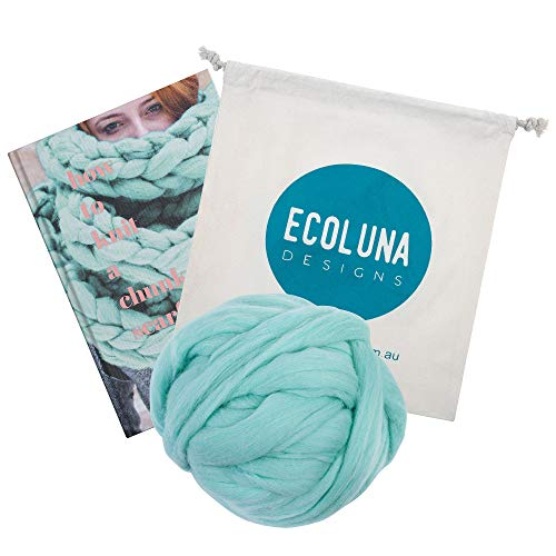 Easy Pattern Book with 1.1 lbs Merino Wool. Arm Knitting Kit Includes Book - How to Knit a Chunky Scarf - with Supply of Australian Merino Wool. Easy to Follow Instructions (Mint Green)