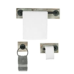 Wall Mounted Industrial Rustic 3 pc Bathroom Fixture with Towel Bar, Towel Ring & Tissue Holder