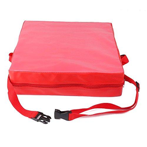 Cojin de silla - SODIAL(R) Cojin elevador de silla ninos Asientos de almuerzo portatil de piel sintetica de ninos Rojo