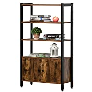 HOMCOM Industrial Bookshelf, Storage Cabinet with 3-Tier with Doors, for Home Office, Living Room Ru...