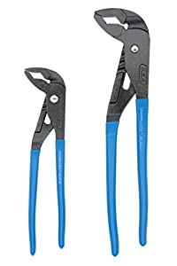 Channellock GLS-1 GRIPLOCK 2 Piece Tongue and Groove Pliers Set - 9.5, 12.5-Inch | Ergonomic V-JAW Groove Joint | Laser Heat-Treated Angled Self Gripping Teeth| Forged from High Carbon Steel | Made in USA