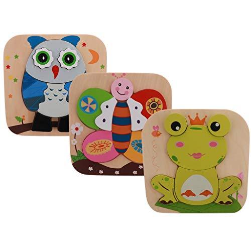 Backbayia - Juego de 3 figuras de dibujos animados de madera, regalo de cumpleaños para niños