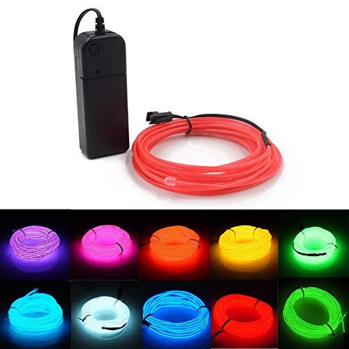 El Wire Light 5m Neonlicht-Elektrolumineszenzlinie mit Akku für Halloween, Auto, Hochzeit, Bardekoration, Werbung (Rosa)