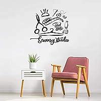 Ronronner 縫製スタジオ壁ステッカーアトリエ家の装飾壁デカール手作りテーラーウィンドウ装飾リムーバブルステッカー57 X 58 Cm