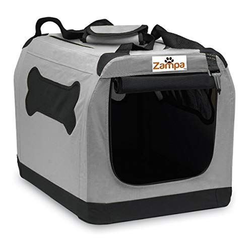 "Pet Portable Crate – Great for Travel Home and Outdoor – for Dog Cat and Puppies – Comes with A Carrying Case 24"" x 166"" x 165"" Grey/Black"