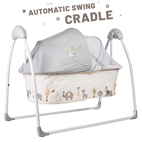 R for Rabbit Lullabies Baby Cradle for Babies -New Born Baby Swing Cradle/Jhula with Automatic Gentle Swing with Mosquito Net(Cream)
