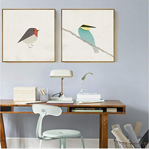 Schattige vogels Robin Bee-Eater Canvas Schilderij Posters en Prints Nordic Pop Wall Art Foto's voor Woonkamer Home Decor 50x50cmx2 unframed