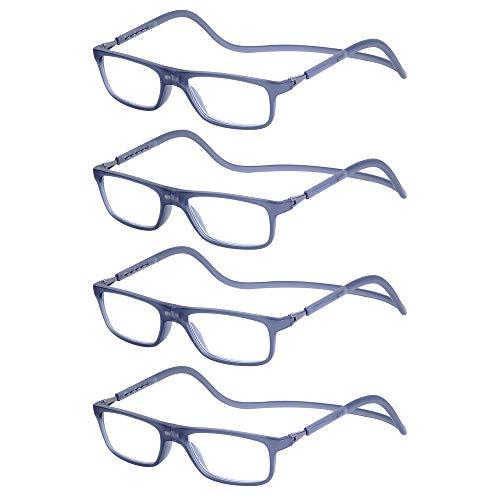 4-Pack Gafas de Lectura Magnéticas Plegables para Hombre y Mujer +1.5 (50-54 años) Presbicia Vista Montura Regulable Colgar del Cuello y Cierre con Imán, Transparente Gris