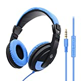 VCOM Wired Headphones with Microphone, Lightweight Stereo Over Ear Headset, 3.5mm Jack for Tablets PS4 Xbox One Smartphones Laptops MP4 Skype Chat School Classroom Students Teens Adults (Blue)