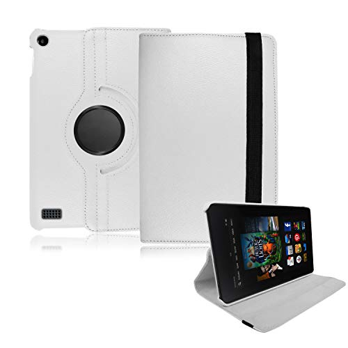 Amazon Fire HDX 7 Case, (2013 version) - 360 Swivel Rotating Leather Flip Folio Tablet Case Cover, (White)