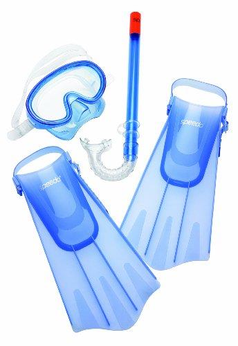 Speedo Unisex-Child Aqua Quest Swim Mask, Snorkel & Fins Set Blue Ocean ,Large/X-Large