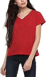 AMERICAN CREW Women's V Neck Top T-Shirt