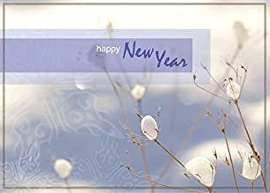 New Year Greeting Cards - N9004. Greeting Cards Featuring a Winter Image With Happy New Year. Box Set Has 25 Greeting Cards and 26 White with Silver Foil Lined Envelopes.