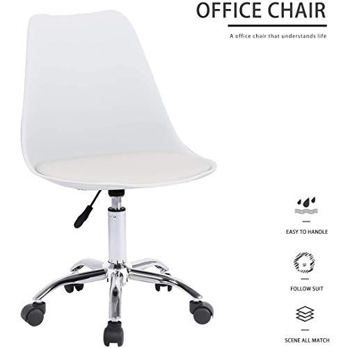 MXCYSJX Silla de Oficina sin Brazos, con Ruedas Elevador Giratorio Ajustable para la Sala de Estar de la Oficina en el hogar Silla de Escritorio ergonómica
