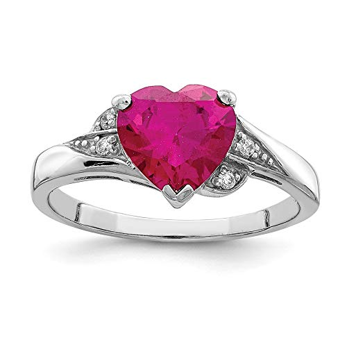 925 Sterling Silver Cubic Zirconia Cz Synthetic Red Ruby Heart Band Ring Size 8.00 S/love Fine Mothers Day Jewelry For Women Gifts For Her