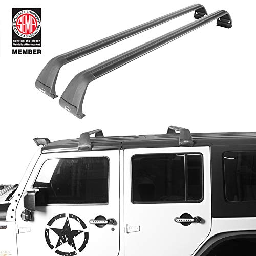 Hooke Road Roof Rack Cross Bars Kayak Cargo Carriers Compatible with Jeep Wrangler JK JL Gladiator JT 2007-2021 (Hard Top)