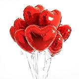 envami Herzluftballons Herzballons Folienluftballons 10 STK. - Ideal als Hochzeitsdeko, Geburtstagsdeko oder Partydekoration (Rot)