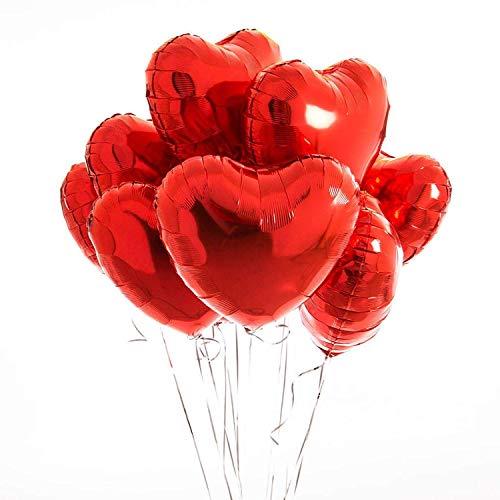 envami Herzluftballons Herzballons Folienluftballons 10 STK. - Ideal als Hochzeitsdeko,...