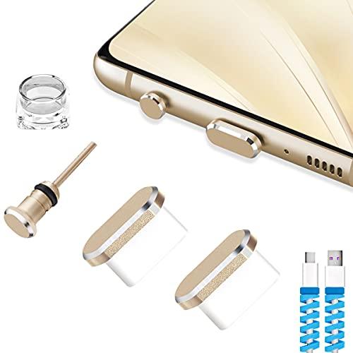 VIWIEU USB Cダストカバーキャップチャーム 携帯電話タイプC充電ポートとイヤホンジャックキャップ 汚れプロテクター Samsung Galaxy Pixel OnePlus ノートパソコン MacBook Pro Androidデバイスに対応 ゴールド 2個パック