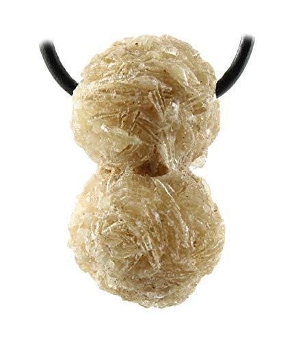 budawi® - Sandrose Anhänger Kettenanhänger mit Lederband, Wüstenrose Kettenanhänger