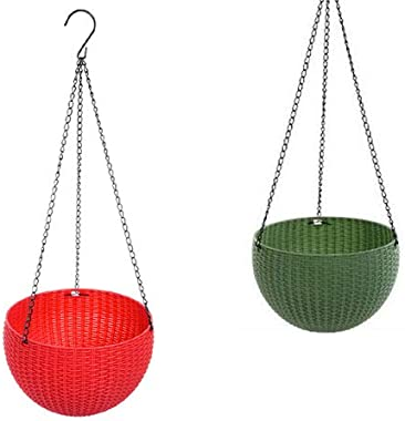 Antier (Red and Dark Green) 2 pcs Round Plastic Resin Chain Basket Hanging Planter Hanging Flowers and Plants,Growers