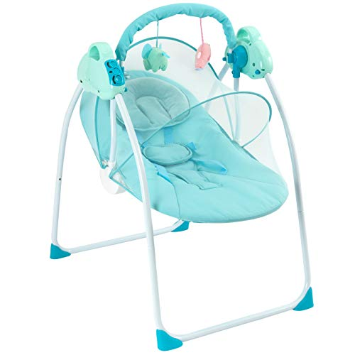 Baby Swing Portable Swing 3 Speed Safe Soothing Baby Swings for Infants Easy to Assemble with Music Box Removable Washable Mattress Baby Pillow and Seat Belt Baby Rocking Chair Newborn Gifts for Boys