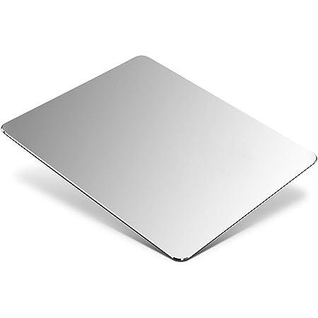 Tappetino Mouse in Alluminio, Tappetini per il Mouse da gioco Mouse Pad con base in Gomma Antiscivolo, Impermeabile tappetino Alluminio per Notebook, PC e Laptop, 23x18cm, Argento