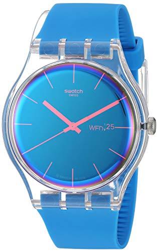 Swatch Transformation Quartz Silicone Strap, Blue, 20 Casual Watch (Model: SUOK711)