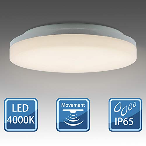 BarcelonaLed Lámpara Plafón LED IP65 impermeable con Sensor detector de movimiento 360º 18W luz blanco neutro 4000K 1600LM downlight circular de techo y pared con para exterior/Interior