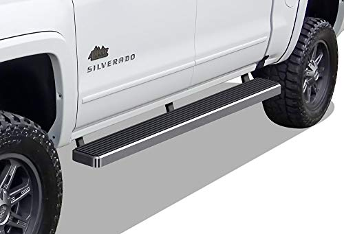 APS iBoard (Polished Silver 5 inches) Running Boards Nerf Bars Compatible with 2007-2018 Chevy Silverado Sierra & 2019 2500 HD 3500 HD Crew Cab (Exclude 07 Classic)(Include 19 1500 LD)