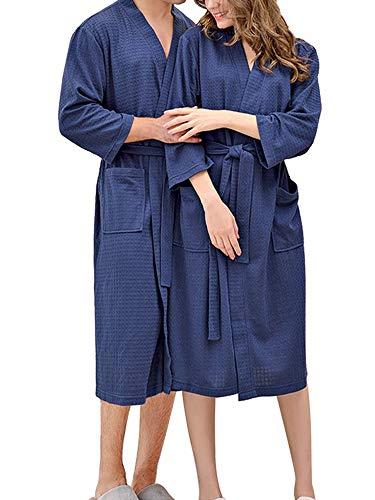 Geagodelia Peignoir unisexe en microfibre, manches longues, couleur unie, pyjama pour homme, hiver, robe de chambre pour femme, taille M-3XL, bleu, XXXL