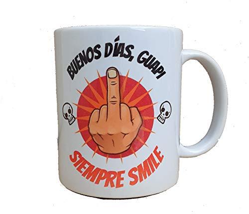 Taza Graciosa Ofensiva. Humor Sarcástico .Buenos Días Guapi. Taza de desayuno - MUG