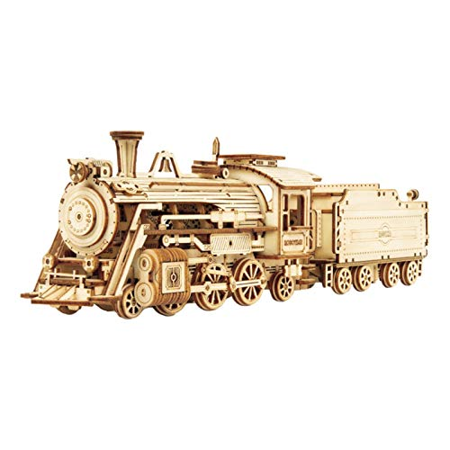 kaikki 3D Wooden Puzzle, Mechanical Car Model Kits Locomotive Train Toy Wooden Puzzle Model Vehicle Building Kits-Unique Gift for Adults and Kids