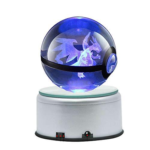 Anime Design 3D LED Crystal Ball Night Light Rotating Premium Base (Mega Charizard 80MM)