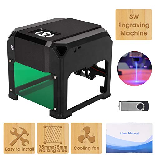 Yofuly Mini 3W graveermachine, kan IC-kaart, mobiele telefoon geval, portemonnee, donker plastic, hout (dik of dun), bamboe, kraftpapier, acryl, werkgebied 80X80mm