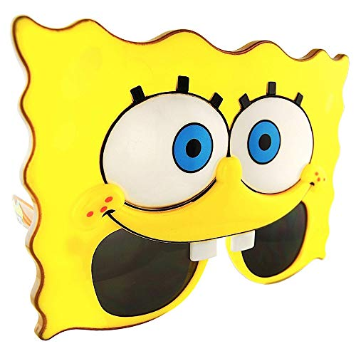 Sun-Staches Licensed Spongebob Party Spongebob Sunglasses with UV Protection, One Size Fits Adults & Kids - Spongebob Party Supplies: Use for Party Props & Favors Black