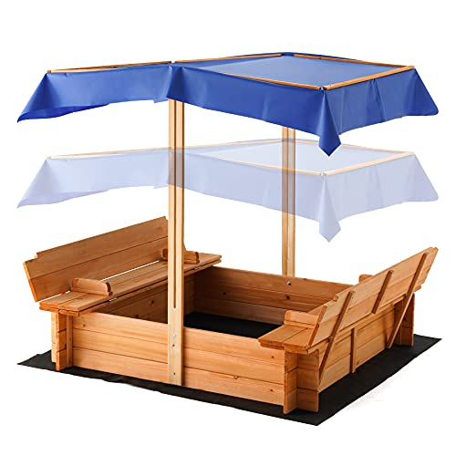 Kids Outdoor Sandbox with Canopy, 45x45 Inch Large Solid Wood Sandbox Retractable Roof and 2 Foldable Bench Seats, Canopy Covered Sand Box for Garden Backyard Beach
