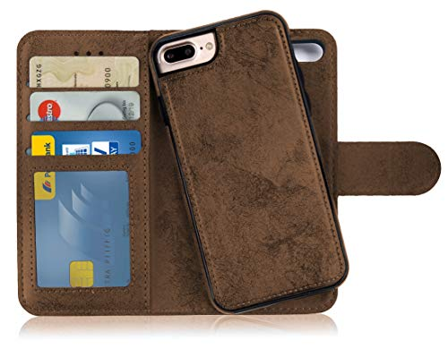 MyGadget Flip Case Handyhülle für Apple iPhone 7 Plus / 8 Plus - Magnetische Hülle in PU Leder Klapphülle - Kartenfach Schutzhülle Wallet - Braun