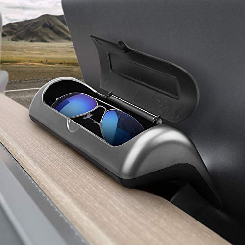 GOINUS Soporte para Gafas de Sol Estuches Ocultos para Gafas Caja de Almacenamiento para Tesla Model 3, Fácil instalación y Uso
