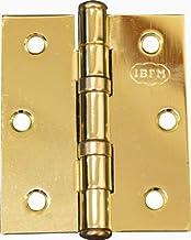Scharnier voor boekendeuren, kogellagers, 2 stuks, (afmeting 89 x 76 mm, messing)