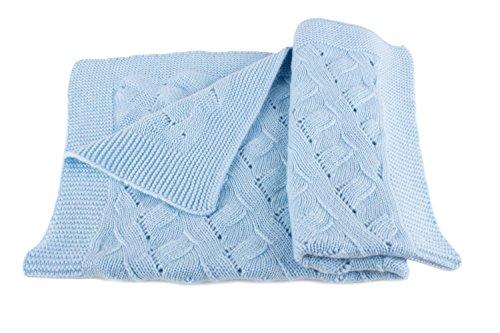 Love Cashmere Jungen Luxus 100% Kaschmir Babydecke - 'Babyblau' - Handgefertigt in Schottland - UVP €280
