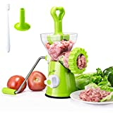 Hand Crank Manual Meat Grinder Heavy Duty Stainless Steel Blades with Powerful Suction Base...