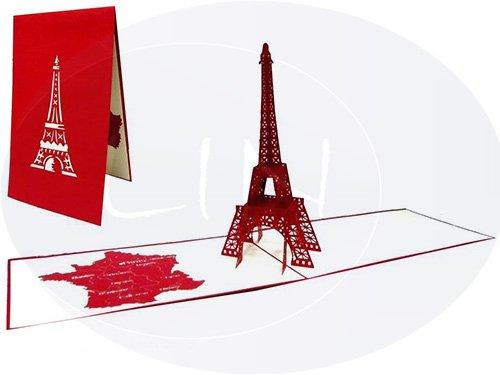 LIN 17090, POP UP 3D Karte Paris Eifelturm, Grußkarten Paris,3D Karte Paris, Hochzeitskarte Paris, Reisegutschein Hochzeit Paris, Großer EIFELTURM, N181