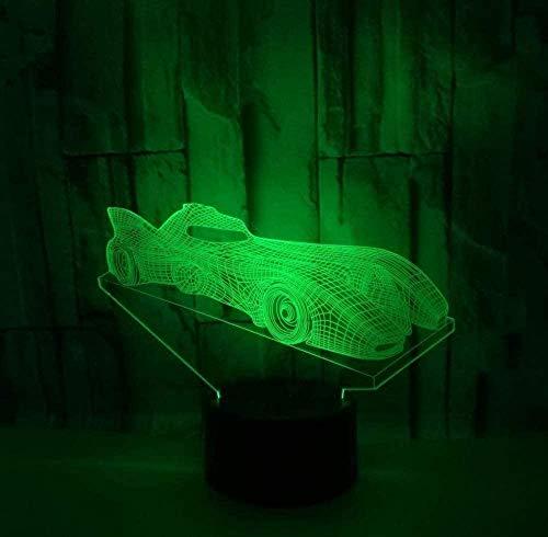 Luz nocturna 3D, ilusión óptica, luz nocturna de 16 colores cambiantes, lámpara de luz nocturna con mando a distancia USB, decoración de escritorio, dormitorio, juguetes para niños murciélago, carro