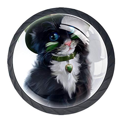 Tirador de manijas de cajón Perillas decorativas del gabinete del cajón Manija del cajón del tocador 4 piezas,gatitos gatos duende acuarela trébol trébol