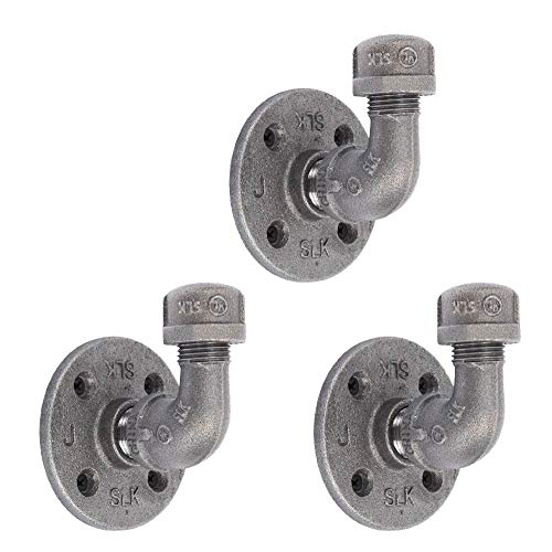"""Industrial Pipe Decor Coat Hook Set of 3 - Heavy Duty Wall Mounted, Rustic Iron DIY Style, Steel Grey Black For Entryway, 1/2"""" inch Threaded Floor Flanges Fittings and Elbows, Three Floating Hooks Kit"""