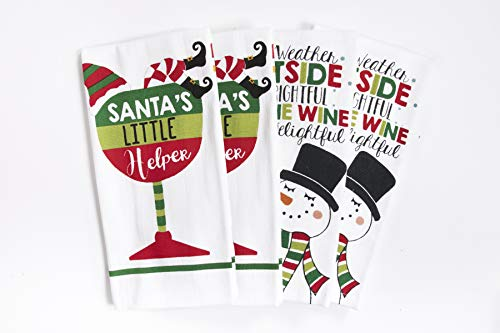 Ritz Dual Print Kitchen Towels, Christmas Spirit Set, Great Christmas Gift, 100% Cotton, Highly Absorbent, Machine Washable, 4 Pack