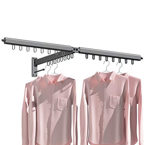 Laundry Drying Rack FoldingDERUI CREATION Space Saving Expandable Wall Mount Drying Rack Clothing for BalconyOutdoorIndoor One Size Black