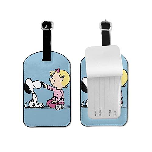 Snoopy de alto grado de cuero de la PU de la personalidad profesional DIY impresión maleta diseño privacidad etiqueta de equipaje moda